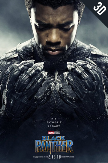 3D BLACK PANTHER (PG-13) Movie Poster