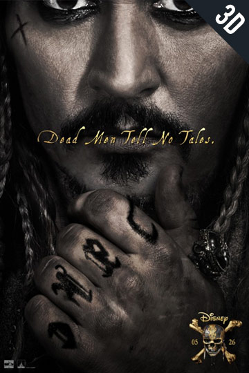 3D PIRATES OF THE CARIBBEAN: DEAD MAN TELLS NO TAL (PG-13) Movie Poster